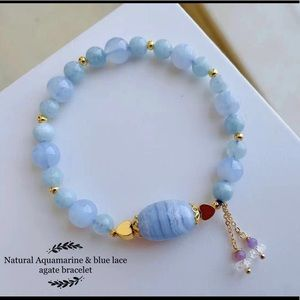 Natural Aquamarine & blue lace agate bracelet